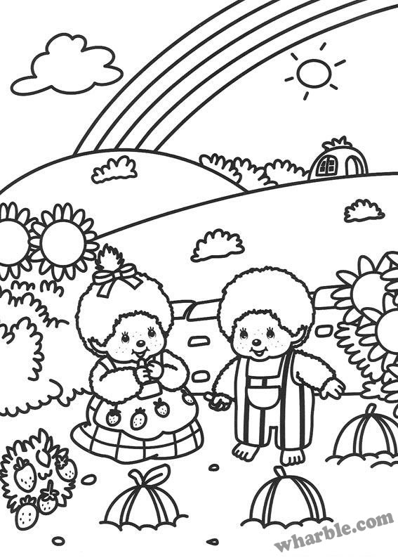 Boy and Girl Monchhichi Coloring Page