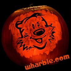 Calvin & Hobbes Carved Pumpkin