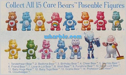 All 15 Care Bears Poseable Figures