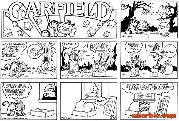 halloween garfield comic strip - Garfield Halloween Coloring Pages