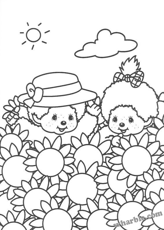 Monchhichi Flowers Coloring Page