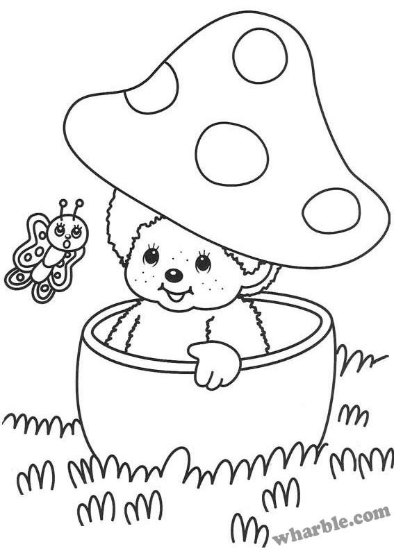 Peekaboo Monchhichi Coloring Page