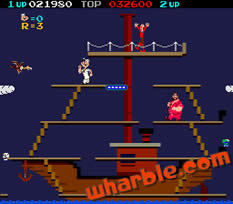 Popeye the arcade game - Level 3, Ship Stage