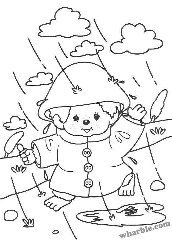 Rainy Day Monchhichi Coloring Page